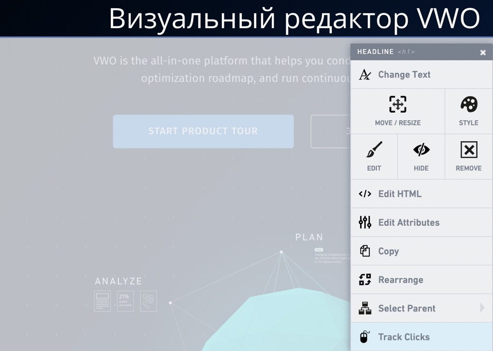 Визуальный редактор в Visual Website Optimizer (VWO) - настройка А/Б теста